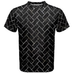 Brick2 Black Marble & Gray Stone Men s Cotton Tee