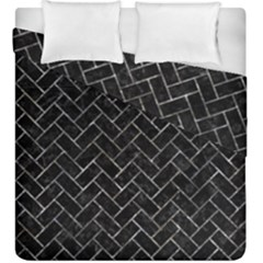 Brick2 Black Marble & Gray Stone Duvet Cover Double Side (king Size)