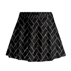 Brick2 Black Marble & Gray Stone Mini Flare Skirt