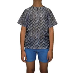 Brick2 Black Marble & Gray Stone (r) Kids  Short Sleeve Swimwear