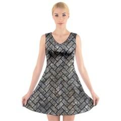 Brick2 Black Marble & Gray Stone (r) V Neck Sleeveless Skater Dress