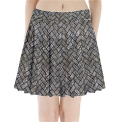 Brick2 Black Marble & Gray Stone (r) Pleated Mini Skirt
