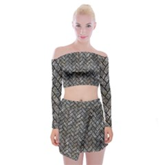 Brick2 Black Marble & Gray Stone (r) Off Shoulder Top With Mini Skirt Set