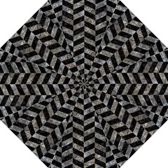 Chevron1 Black Marble & Gray Stone Folding Umbrellas