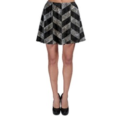 Chevron1 Black Marble & Gray Stone Skater Skirt
