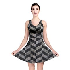 Chevron1 Black Marble & Gray Stone Reversible Skater Dress