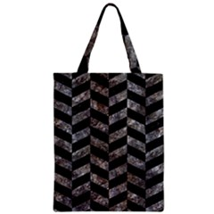 Chevron1 Black Marble & Gray Stone Zipper Classic Tote Bag