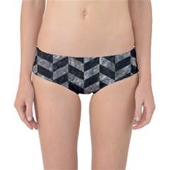 Chevron1 Black Marble & Gray Stone Classic Bikini Bottoms