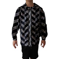 Chevron1 Black Marble & Gray Stone Hooded Wind Breaker (kids)
