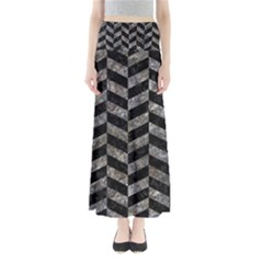 Chevron1 Black Marble & Gray Stone Full Length Maxi Skirt