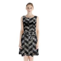Chevron1 Black Marble & Gray Stone Sleeveless Waist Tie Chiffon Dress