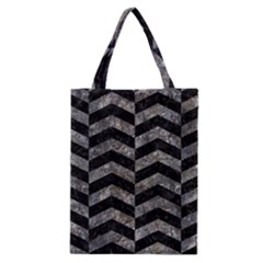 Chevron2 Black Marble & Gray Stone Classic Tote Bag