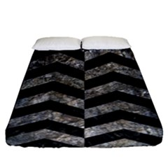 Chevron2 Black Marble & Gray Stone Fitted Sheet (queen Size)