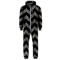 Chevron2 Black Marble & Gray Stone Hooded Jumpsuit (men)
