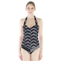 Chevron2 Black Marble & Gray Stone Halter Swimsuit