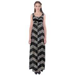 Chevron2 Black Marble & Gray Stone Empire Waist Maxi Dress