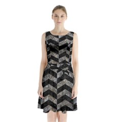 Chevron2 Black Marble & Gray Stone Sleeveless Waist Tie Chiffon Dress