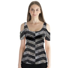 Chevron2 Black Marble & Gray Stone Butterfly Sleeve Cutout Tee