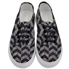 Chevron2 Black Marble & Gray Stone Women s Classic Low Top Sneakers
