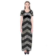 Chevron3 Black Marble & Gray Stone Short Sleeve Maxi Dress