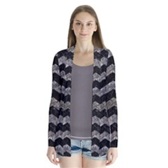 Chevron3 Black Marble & Gray Stone Drape Collar Cardigan