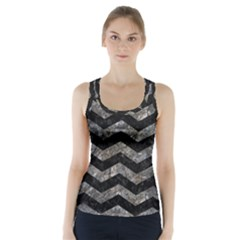 Chevron3 Black Marble & Gray Stone Racer Back Sports Top