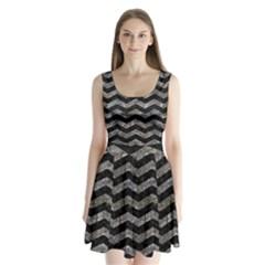 Chevron3 Black Marble & Gray Stone Split Back Mini Dress