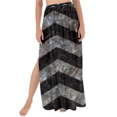 Chevron3 Black Marble & Gray Stone Maxi Chiffon Tie Up Sarong