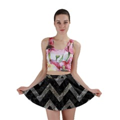 Chevron9 Black Marble & Gray Stone Mini Skirt
