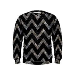 Chevron9 Black Marble & Gray Stone Kids  Sweatshirt