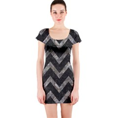Chevron9 Black Marble & Gray Stone Short Sleeve Bodycon Dress