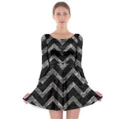 Chevron9 Black Marble & Gray Stone Long Sleeve Skater Dress