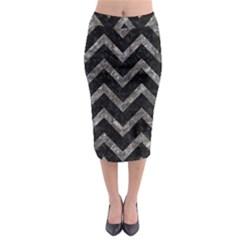 Chevron9 Black Marble & Gray Stone Midi Pencil Skirt