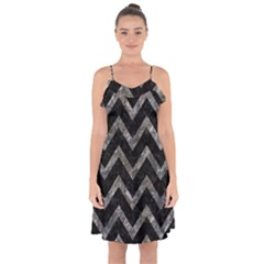 Chevron9 Black Marble & Gray Stone Ruffle Detail Chiffon Dress