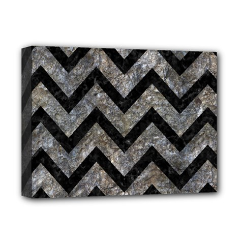 Chevron9 Black Marble & Gray Stone (r) Deluxe Canvas 16  X 12
