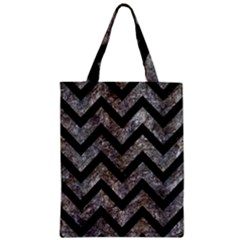 Chevron9 Black Marble & Gray Stone (r) Zipper Classic Tote Bag