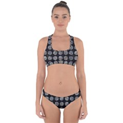 Circles1 Black Marble & Gray Stone Cross Back Hipster Bikini Set