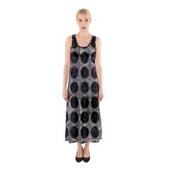 Circles1 Black Marble & Gray Stone (r) Sleeveless Maxi Dress