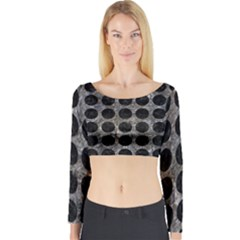 Circles1 Black Marble & Gray Stone (r) Long Sleeve Crop Top