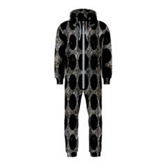 Circles1 Black Marble & Gray Stone (r) Hooded Jumpsuit (kids)