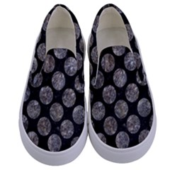 Circles2 Black Marble & Gray Stone Kids  Canvas Slip Ons