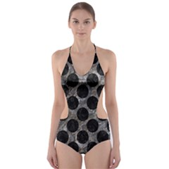 Circles2 Black Marble & Gray Stone (r) Cut Out One Piece Swimsuit