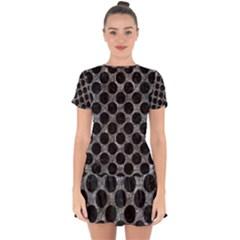 Circles2 Black Marble & Gray Stone (r) Drop Hem Mini Chiffon Dress