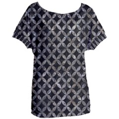 Circles3 Black Marble & Gray Stone Women s Oversized Tee