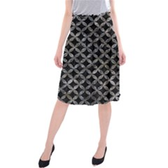 Circles3 Black Marble & Gray Stone Midi Beach Skirt