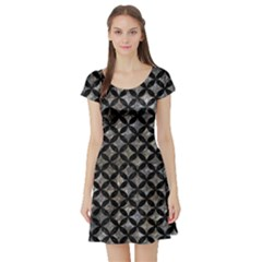Circles3 Black Marble & Gray Stone (r) Short Sleeve Skater Dress