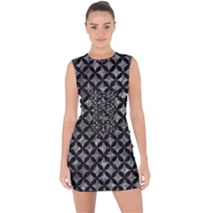 Circles3 Black Marble & Gray Stone (r) Lace Up Front Bodycon Dress