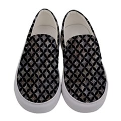 Circles3 Black Marble & Gray Stone (r) Women s Canvas Slip Ons