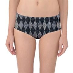 Diamond1 Black Marble & Gray Stone Mid Waist Bikini Bottoms