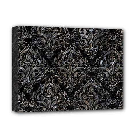 Damask1 Black Marble & Gray Stone Deluxe Canvas 16  X 12